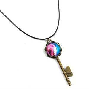 Jewelry - Colorful glass key pendant leather necklace